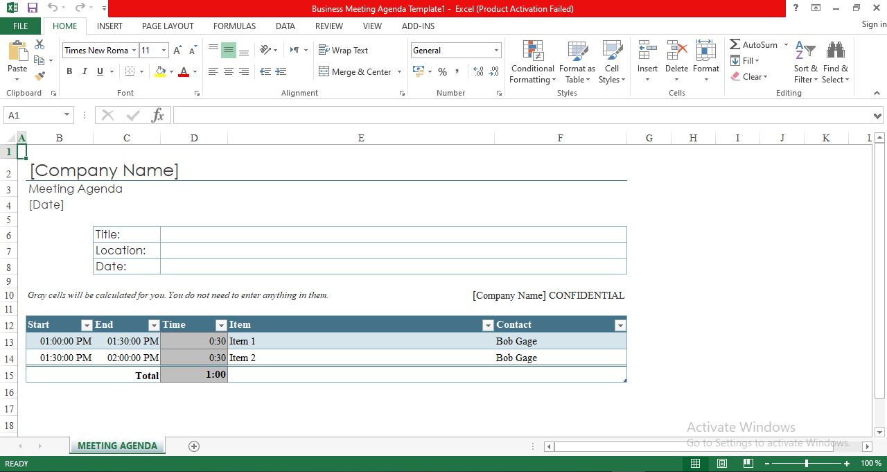 Business meeting agenda template in excel