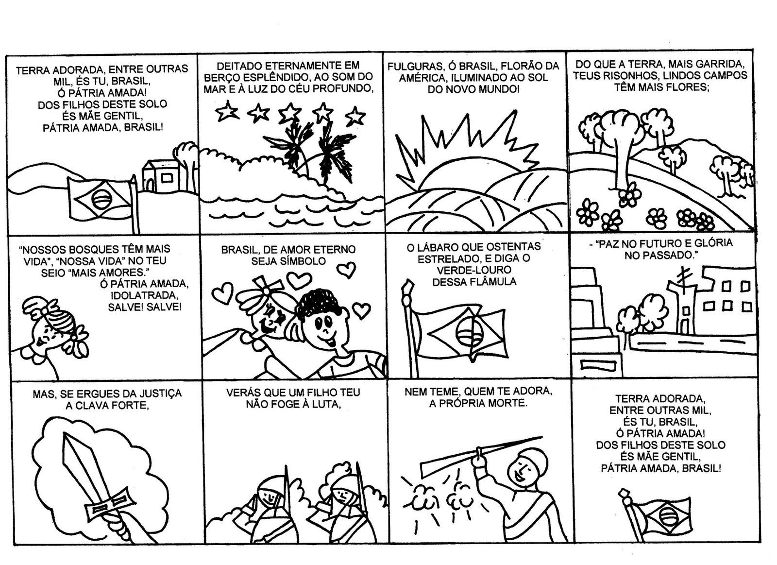 Extremamente Atividades escolares infantis.: Hino Nacional ilustrado BT02