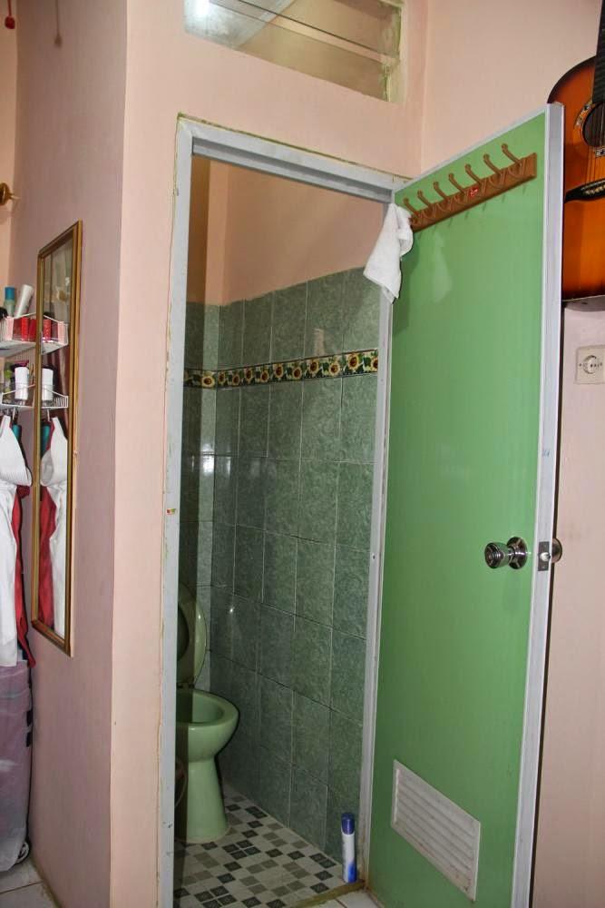 pintu plastik hijau di kamar mandi kecil