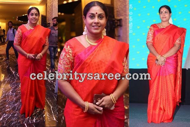 Saranya Ponavannan Orange Sari