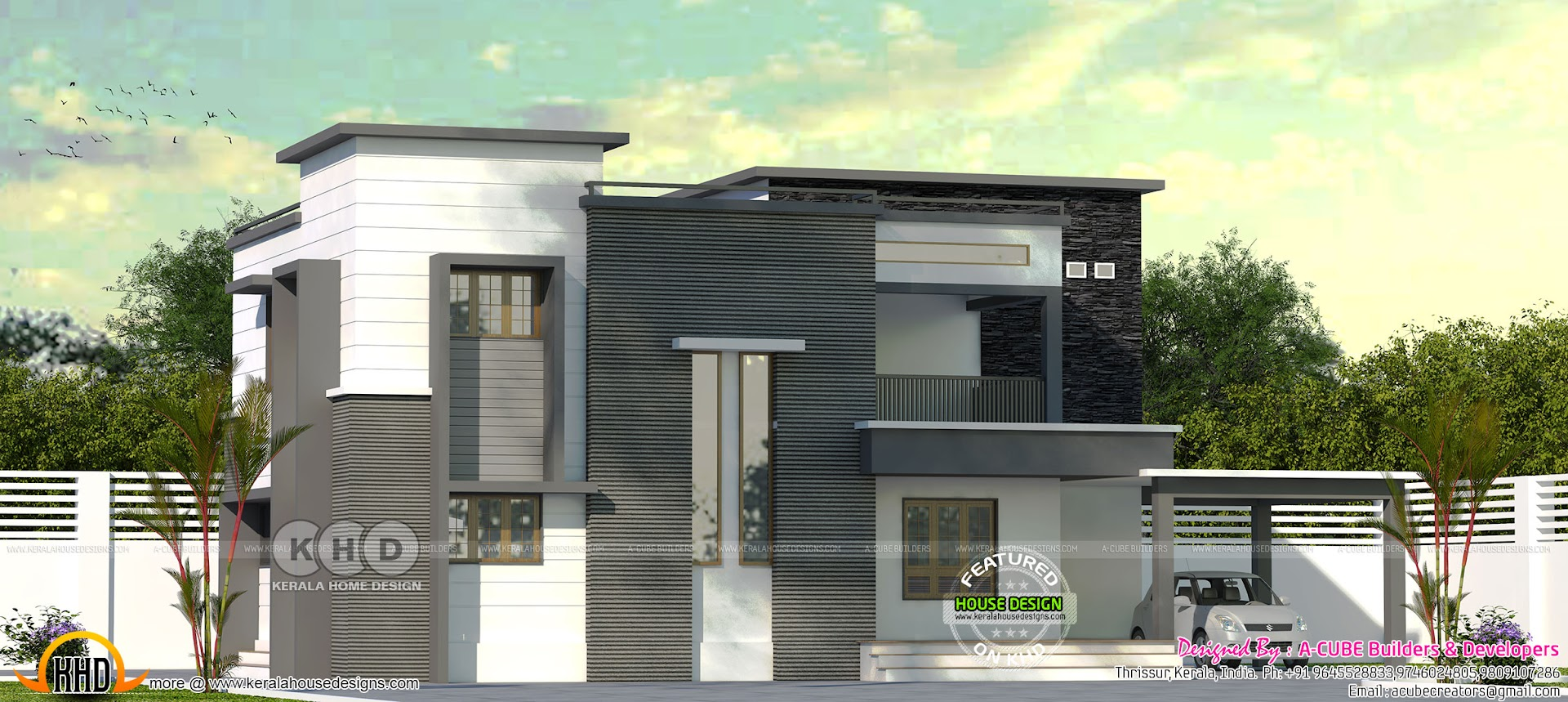 2570 square foot flat roof house plan kerala home design and