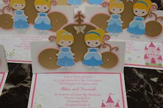 Cinderella handmade invitations, twins party