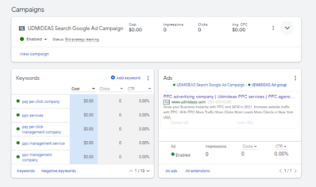 your PPC Campaign in Google Ad is approved Now running