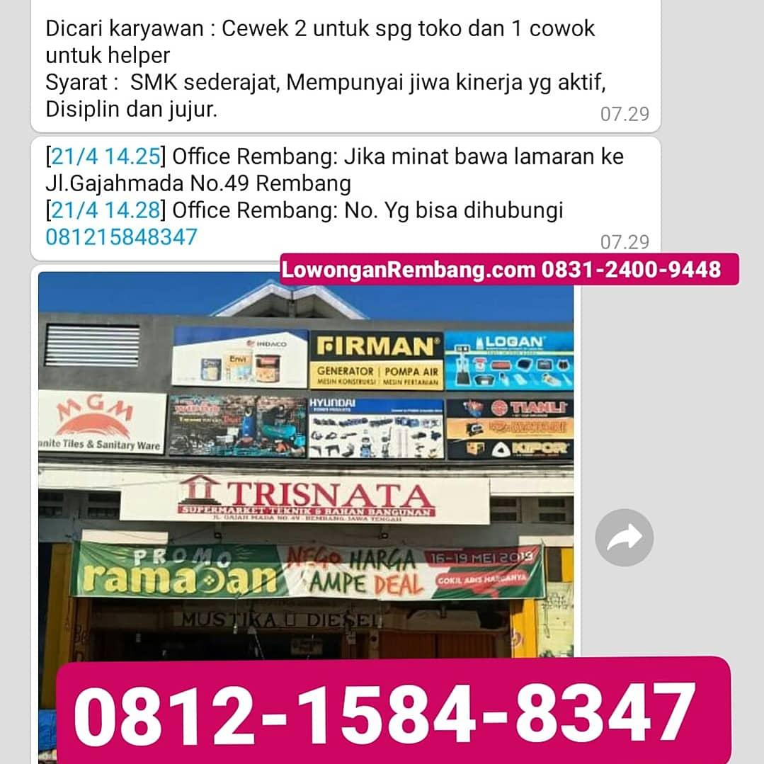 3 Lowongan Kerja SPG Helper Toko Bangunan Trisnata Rembang