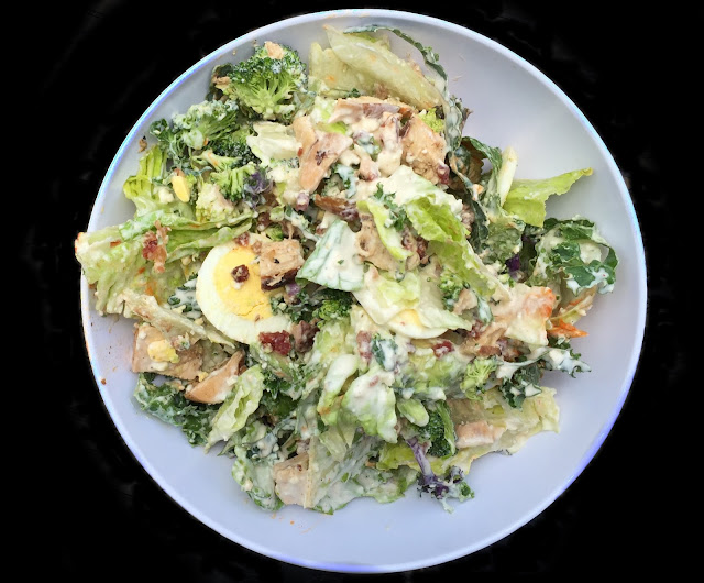 kale and romaine, grilled chicken, avocado, bacon, hard-cooked egg ...