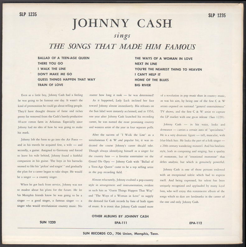 ENTRE MUSICA: JOHNNY CASH - Sings The Songs That Made Him Famous