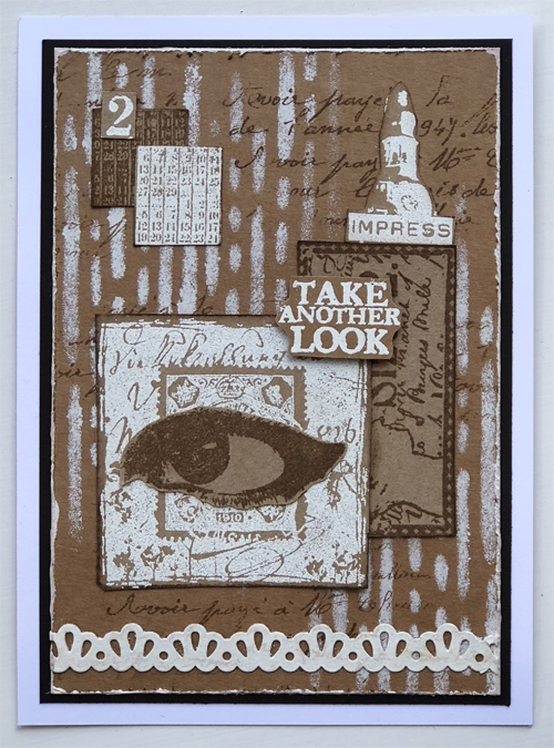 Kraft card and collage with PaperArtsy Vintage Ink and the Dog stamps - by Nikki Acton