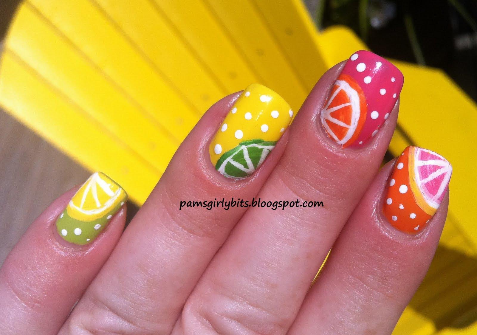 Girly Bits: Fruit Slices summer nail art