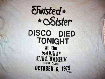 "Twisted Sister t-shirt from October 6, 1979 show at The Soap Factory... ""Disco died tonight"""