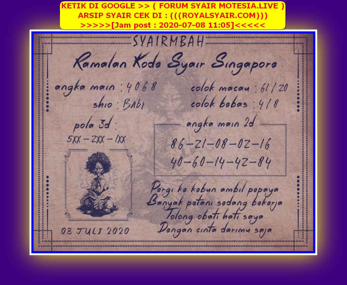 Kode syair Singapore Rabu 8 Juli 2020 32