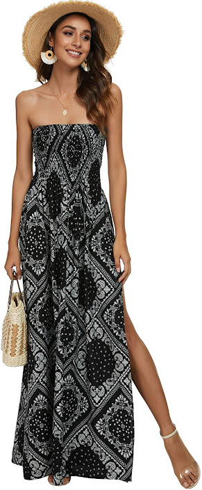 Women's Black Strapless Maxi Dresses