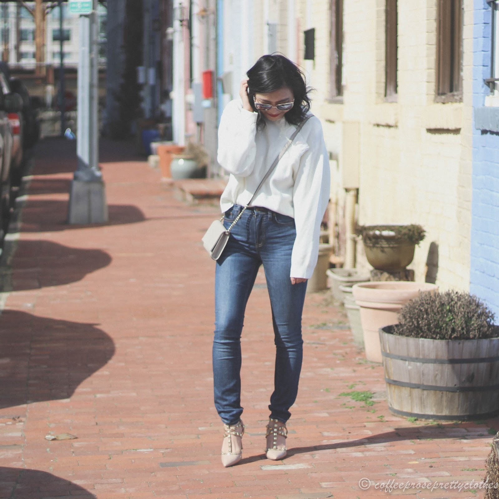 ASOS Ruffle neck sweater, Sole Societ Tiia, J.Crew Factory high rise jeans