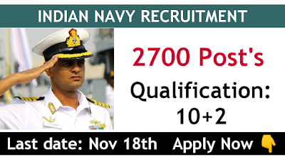 Indian Navy SSR recruitment 2019 for August 2020 Batch total vacancies 2700