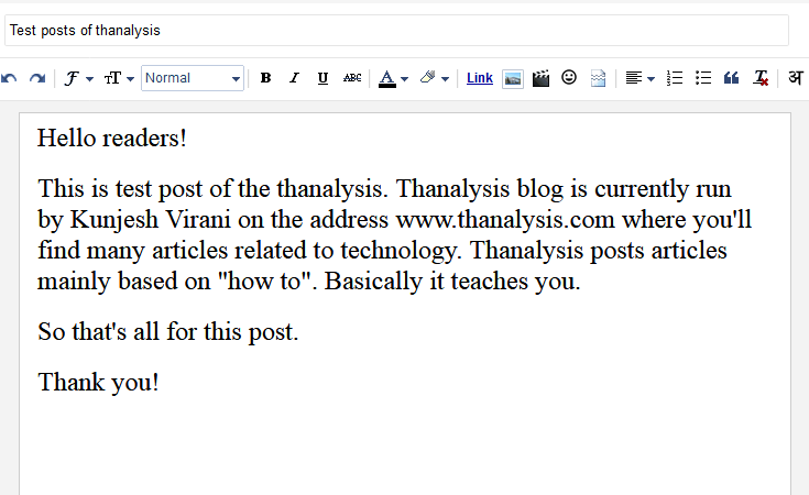 Blog post editor by Google Blogger to write down a blog post.