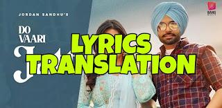 Do Vaari Jatt Lyrics in English | With Translation | – Jordan Sandhu | Zareen Khan