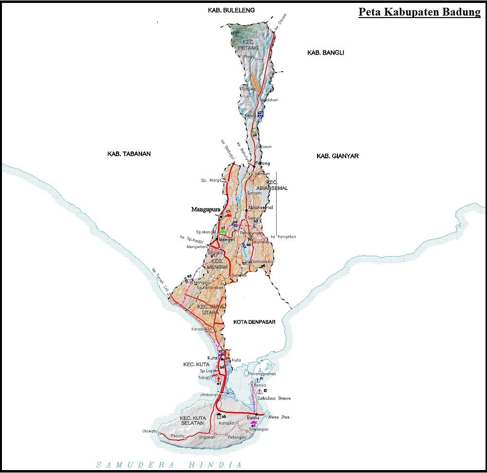 Peta Jalan di Kabupaten Badung Provinsi Bali