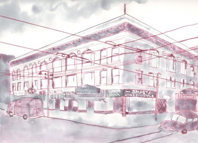 Fillmore Roller Rink, 1949. Drawing by Kaytea Petro