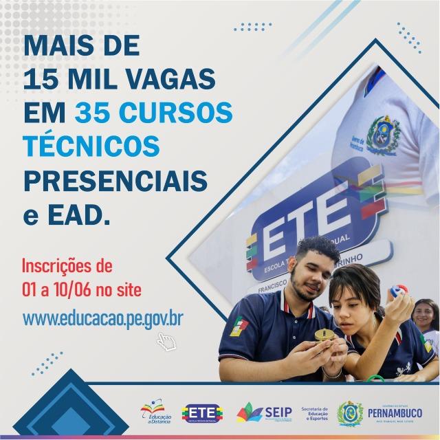 Escolas Técnicas Estaduais de Pernambuco abrem inscrições para cursos técnicos