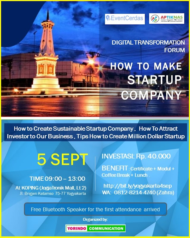 Seminar HOW TO MAKE STARTUP COMPANY