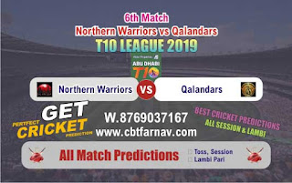 T10 League 2019 Qalandars vs Warriors 6th T10 2019 Match Prediction Today Reports