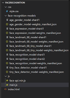 code structure of face recognition using javascript : By visionfortech