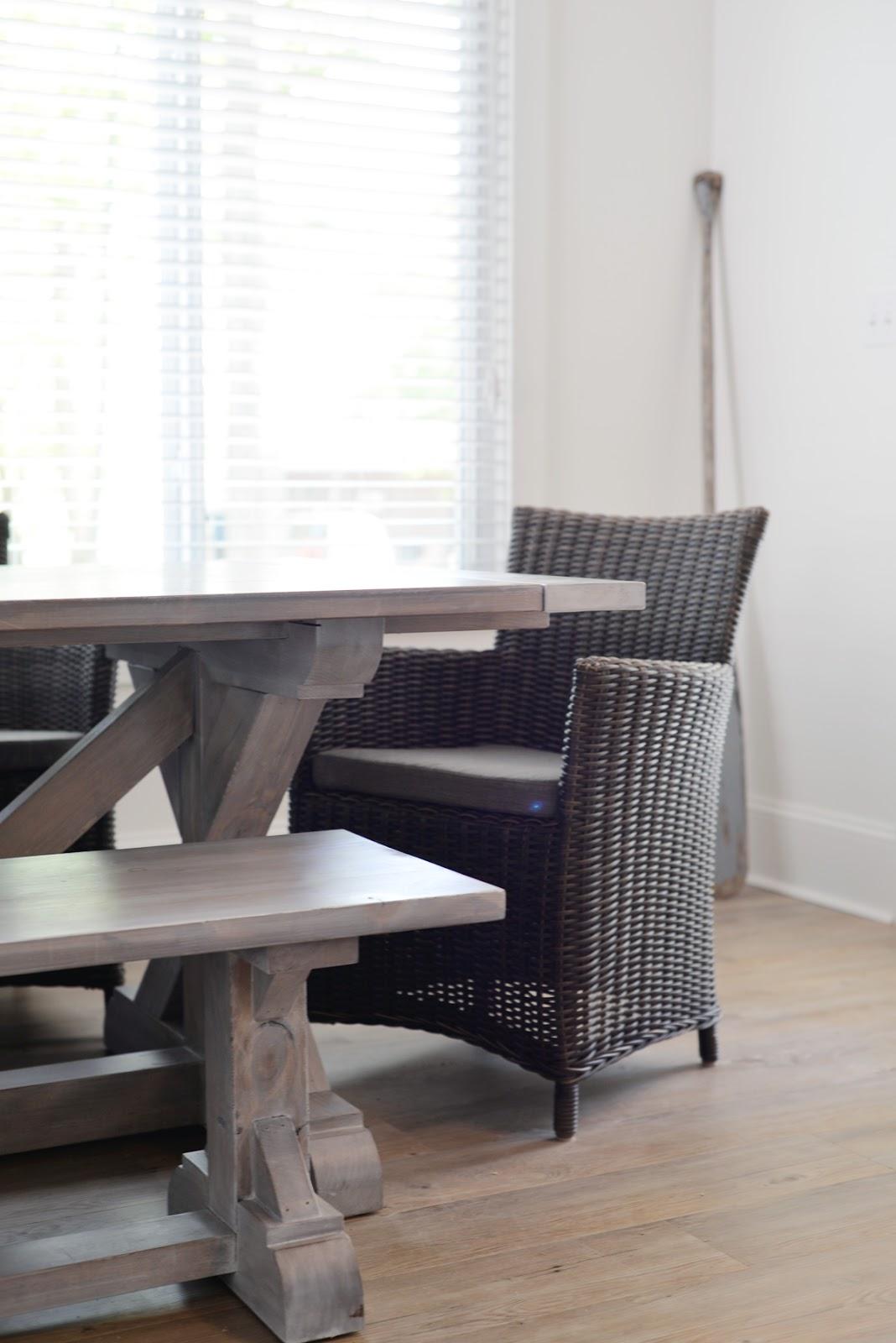 Ramblingrenovators.ca   custom handmade rustic x-base farmhouse table with beachy stain finish