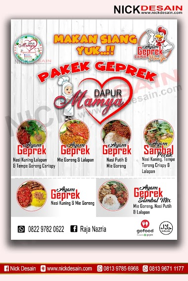 Contoh Desain List Menu / Buku Menu/ Daftar Menu poster Ayam geprek | Percetakan Murah Tanjungbalai