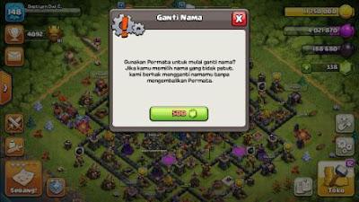 ganti nama pakai gems clash of clans