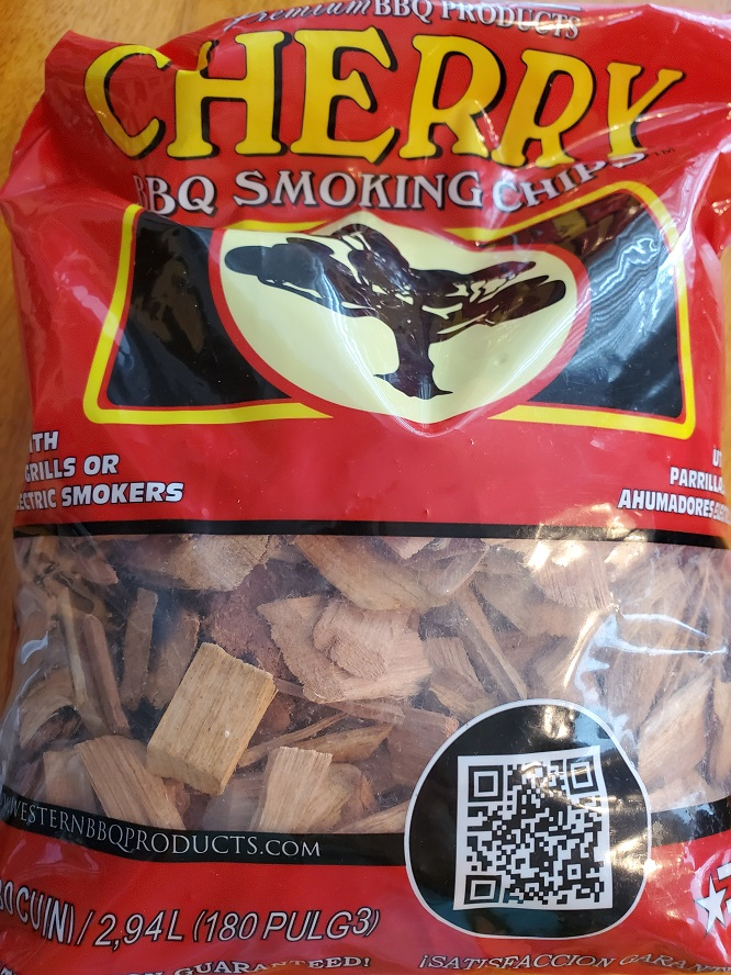 This is cherry wood used to fill the a chamber for a smoker to smoke meats. This is a bag of Western cherry wood chips for grill of smoker