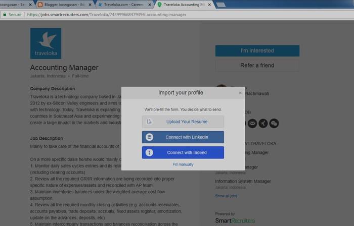 lamaran kerja via portal karir situs