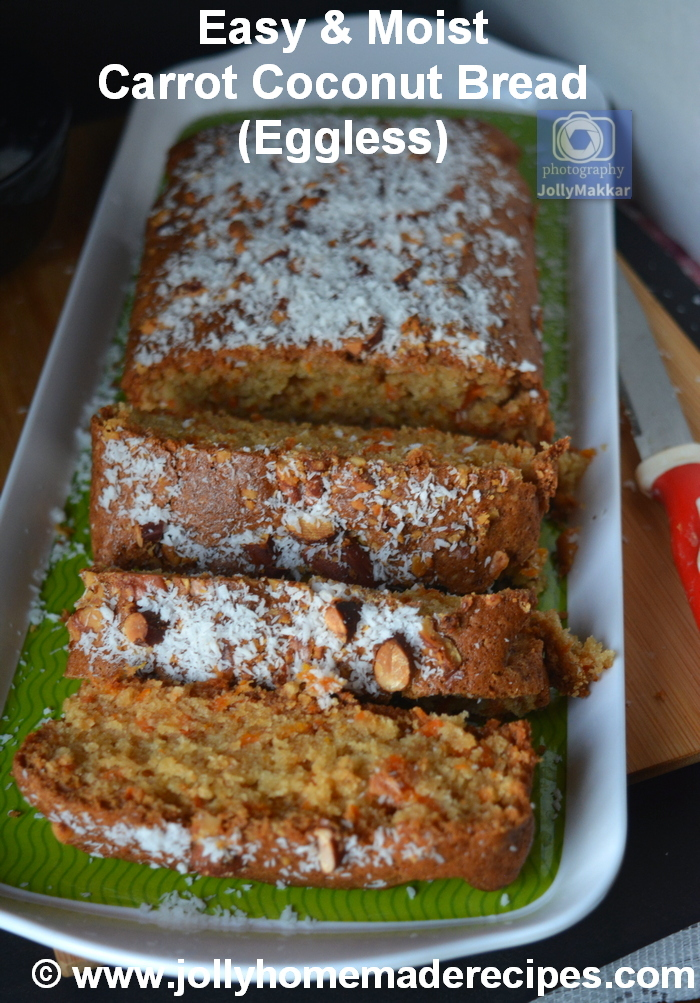 Carrot Coconut Bread (Eggless)