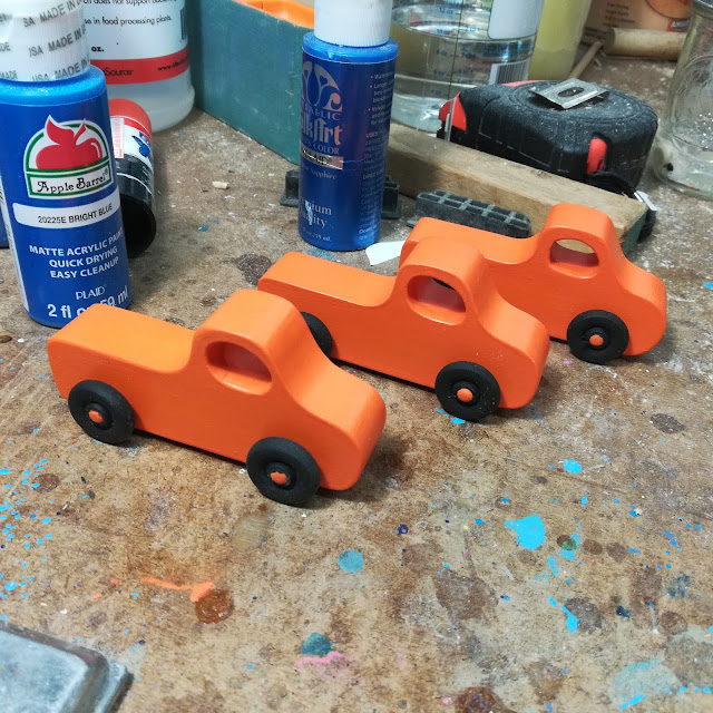 Handmade Wood Toy Toy Pickup Truck Pumpkin Orange Paint Finished