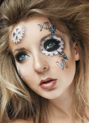 Steampunk and Clockpunk special fx makeup technique. How to create clock hands and roman numerals on your own face for halloween costumes or cosplay.