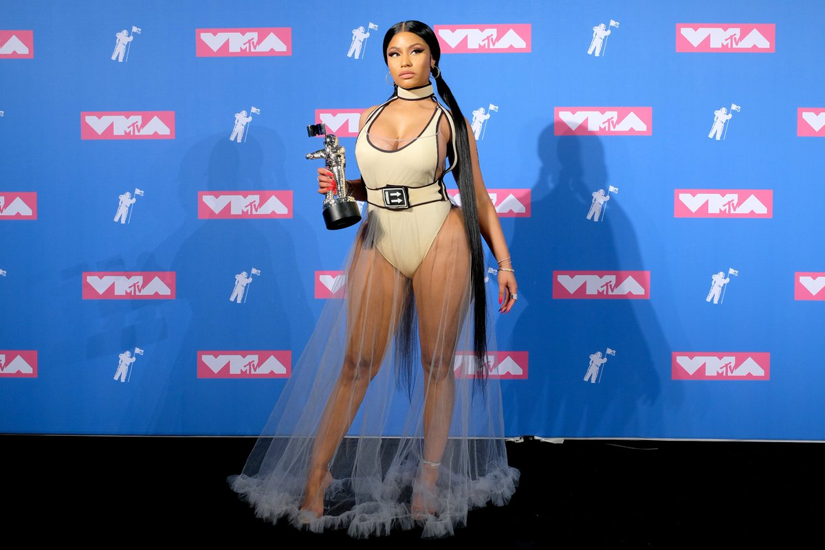 Nicki Minaj wears sheer skirt to the 2018 MTV VMAs