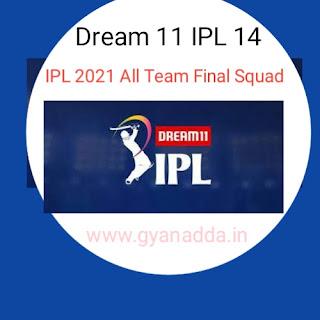Dream 11 IPL 2021 All Team  Final SQUAD LIST( आईपीएल 2021 सभी टीमों की PLAYER LIST)