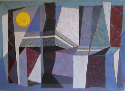 Abtract painting, geometric art, mountains