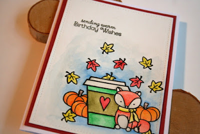 Masking a Fall Coffee Card with Lawn Fawn and Create a Smile Stamps Colored with Inktense Pencils