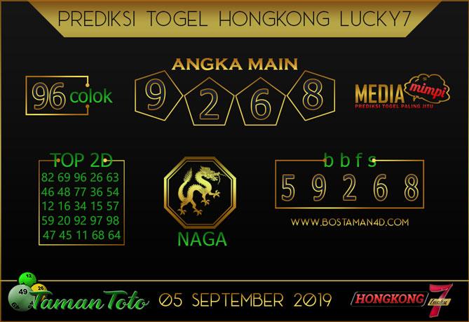 Prediksi Togel HONGKONG LUCKY 7 TAMAN TOTO 05 SEPTEMBER 2019