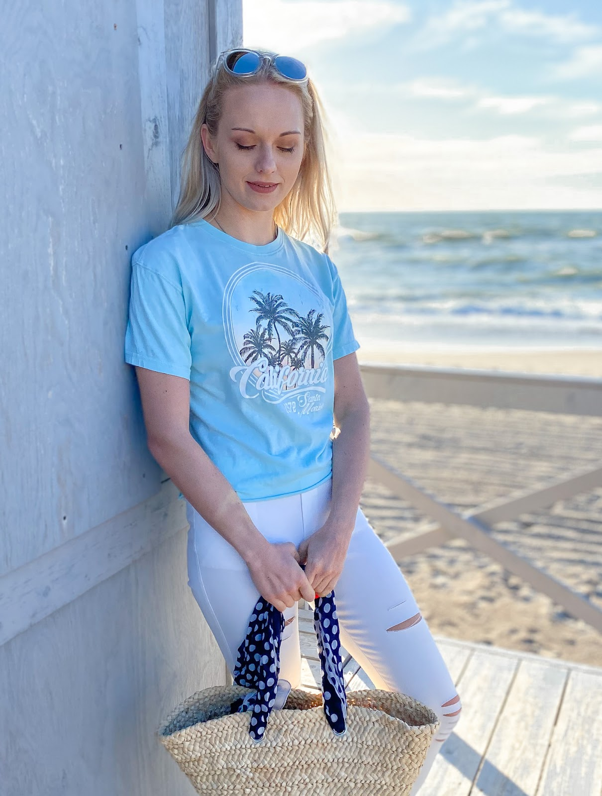 Blue 'California' Graphic Print T-Shirt - Rivka