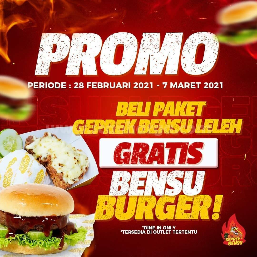 Promo Menu Baru! Beli Paket Geprek Bensu Leleh GRATIS Bensu Burger