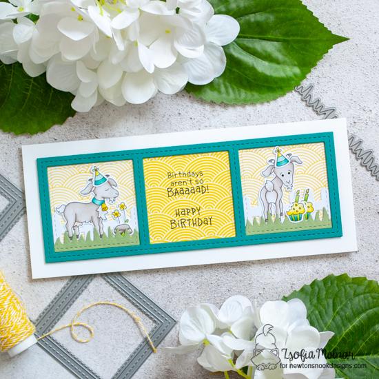 Goat Birthday Card by Zsofia Molnar | Slimline Frames & Windows Die Set and Bleat Stamp Set by Newton's Nook Designs #newtonsnook