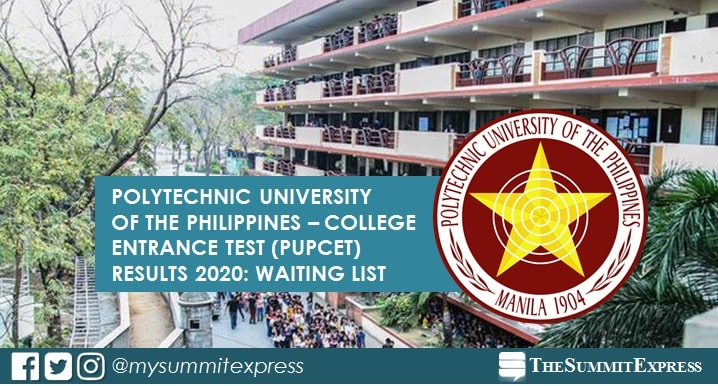 WAITING LIST: PUPCET Results AY 2020-2021
