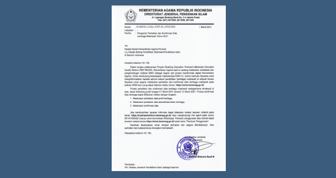 Perbaikan dan Konfirmasi Data Lembaga Madrasah Tahun 2021