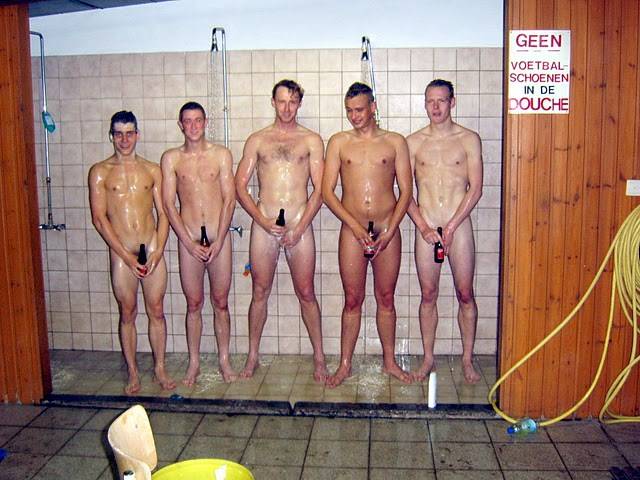 Nude male in group shower
