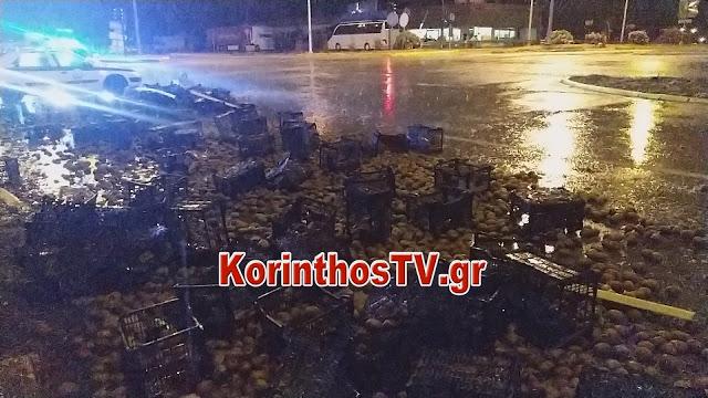 Δεκάδες τελάρα με ακτινίδια γέμισαν τον δρόμο στον Ισθμό της Κορίνθου (βίντεο)