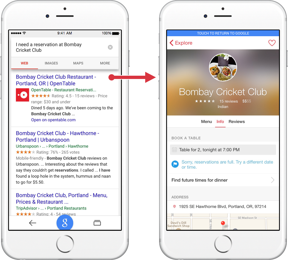 Inside Search Find App Content Straight From The Google Appnow On - What is open table reservation