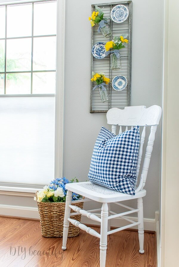 blue gingham and yellow