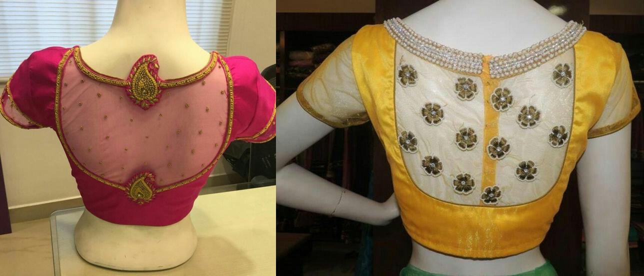 30 Pretty Sheer Back Neck Blouse Designs Transparent Blouse For Sarees Bling Sparkle