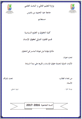 مذكرة ماستر: الآليات الدولية لحماية حقوق الإنسان وتأثيرها على مبدأ السيادة PDF