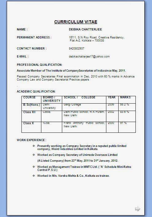 Resume Format Canada 2012